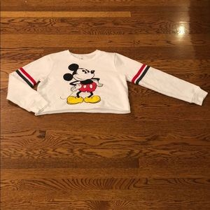A Long Sleeved Mickey Mouse Cropped Shirt
